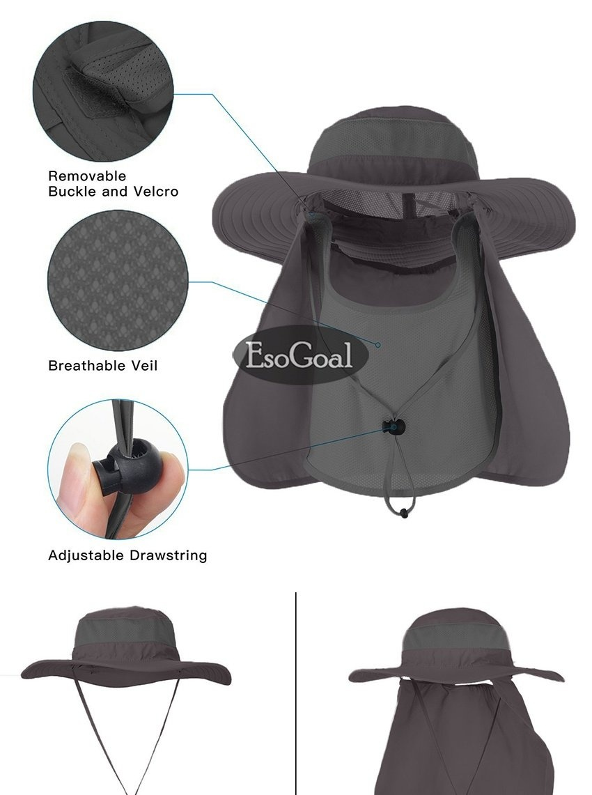 af56716cb Specifications of EsoGoal Summer Sun Hat Protection Caps Flap 360°Outdoor  Fishing Hat With Removable Neck Face Flap Cover, UPF 50+ Cap For Men And ...