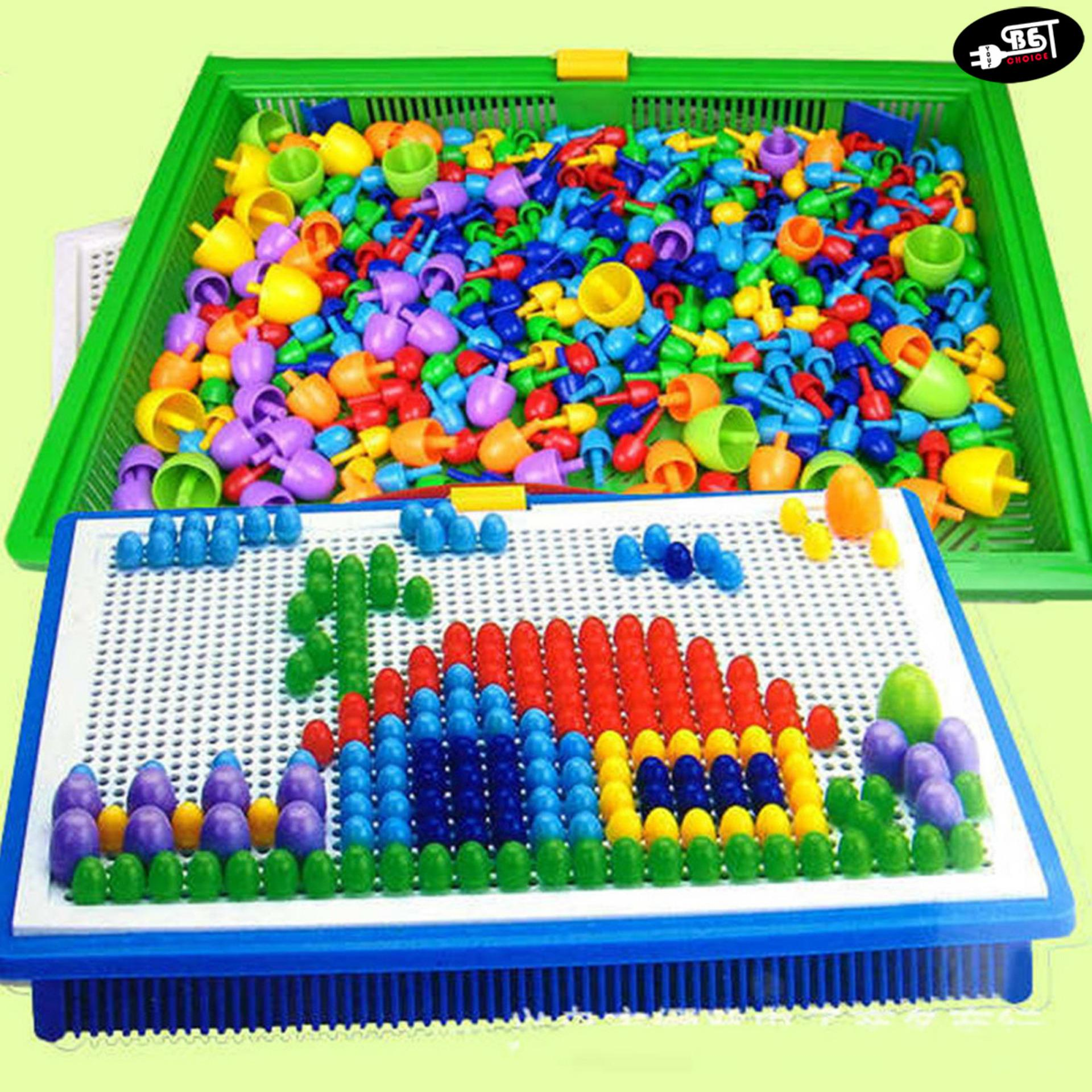 Ybc 296pcs Creative Peg Board Mushroom Nails Jigsaw Puzzle Educational Toys By Your Bestchoice.