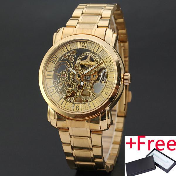 36cb389d290 WINNER WINNER 159W Women Luxury Watches 2017 Auto Mechanical Wristwatch Top  Brand Luxury Ladies Skeleton Golden
