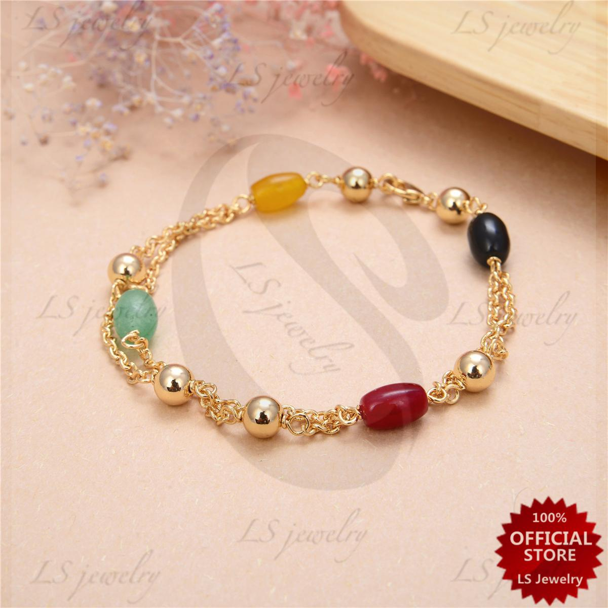 253e2c95a0 LSjewelry Lucky charm jade and Coral Stainless gold Plated bracelet B