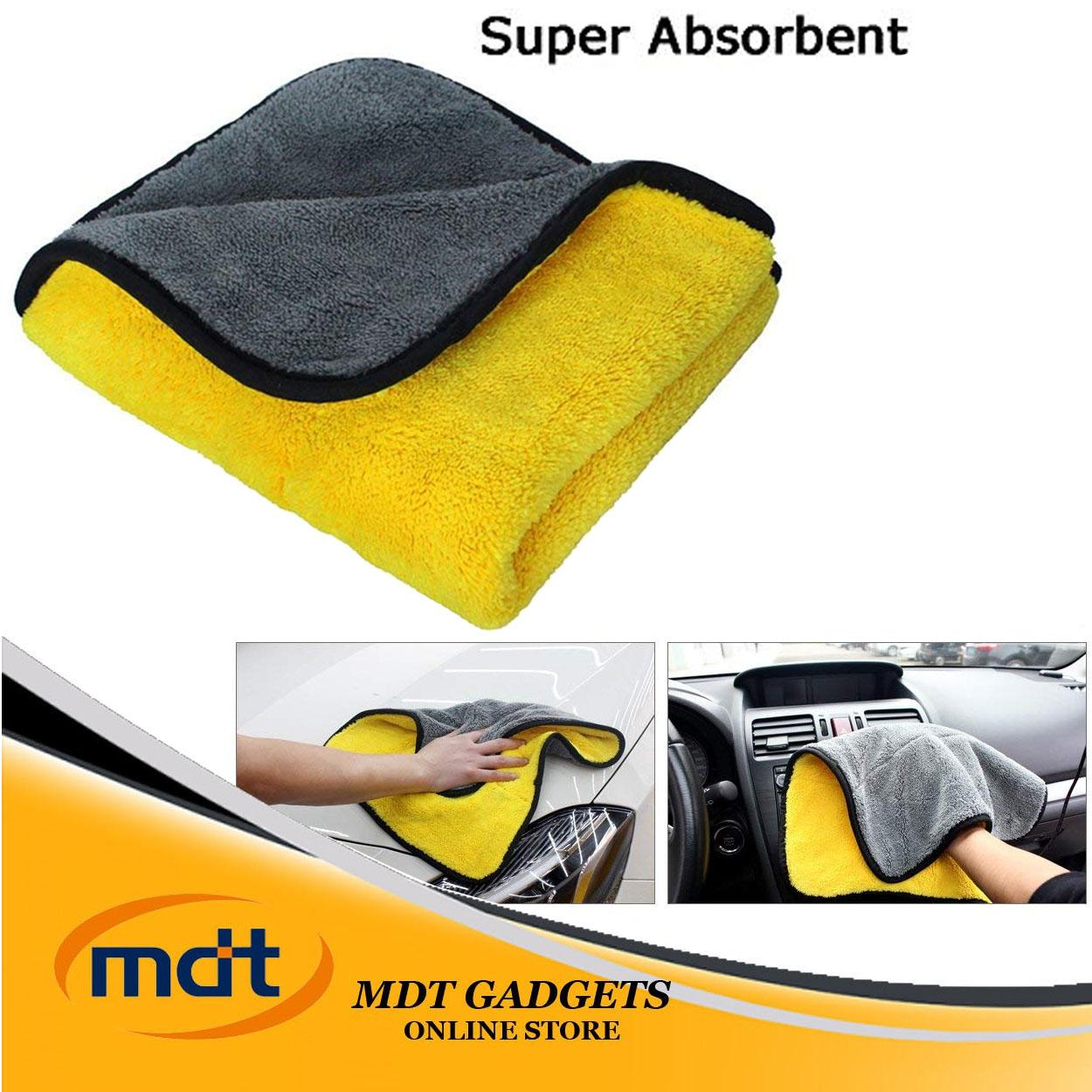 Super Absorbent Car Wash Towel Cleaning Drying Towel (yellow-Gray) By Mdt Gadgets.