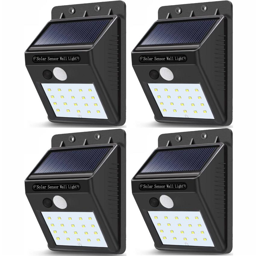 Set Of 4 Sensor Wall Light 20 Led Outdoor Waterproof Rechargeable Solar Power Pir Motion Garden Lamp By Lst Dry Goods.