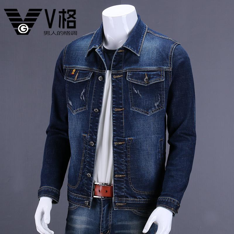 V Lattice Spring Jeans Coat man Outer Wear Loose Youth Elasticity Denim  Jacket Vintage Cowboy Coat ce73a22bfa16