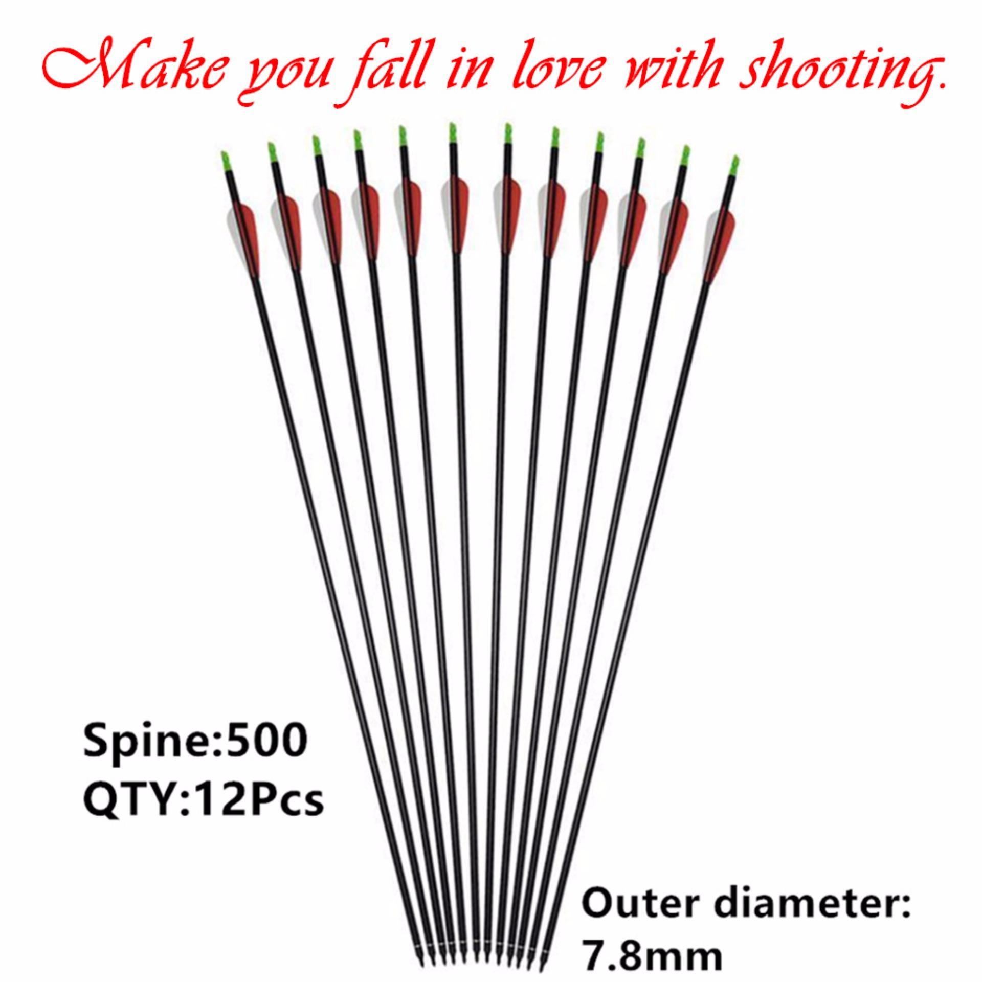 12Pcs Training Practice 7.8mm Arrow Full Carbon Fiber Archery Replaceable  Arrow Recurve Bow Compound Bow bae275080c42
