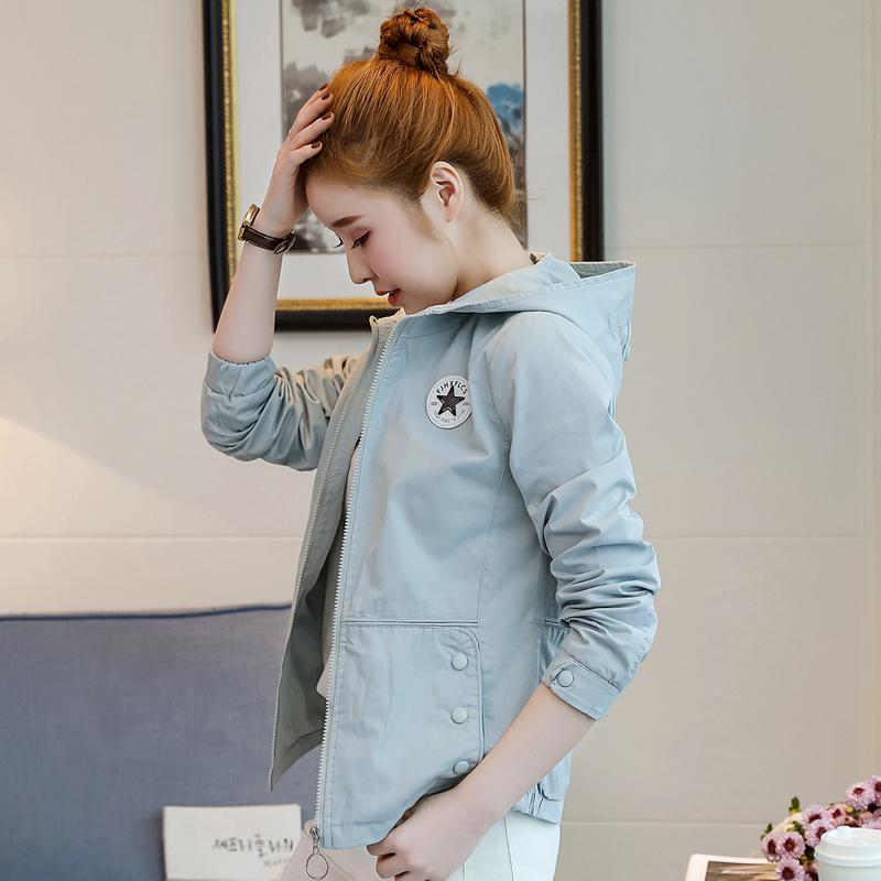 59936002137 Short Coat women Spring And Autumn New Style Korean Style 2019 Hooded  Cotton Slim Fit Slimming