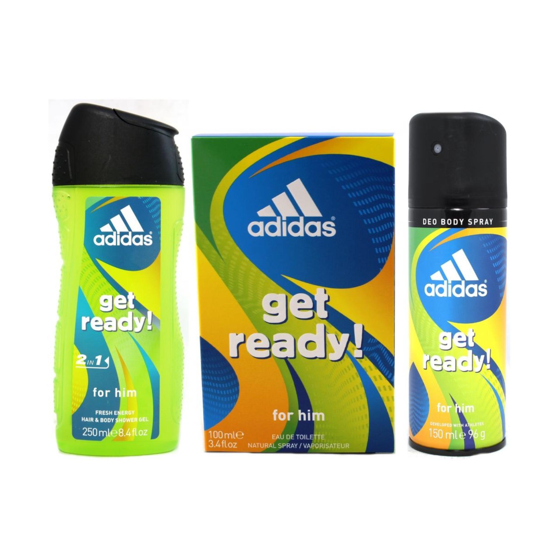 cb43cb94e806 Adidas Get Ready Set (Eau de Toilette 100ml + Deo Spray 150ml + Shower Gel