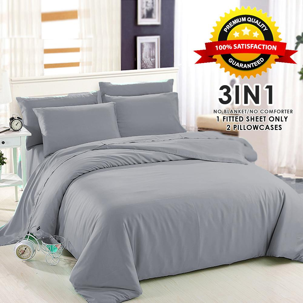 Sleep Essentials Plain Bedsheet PREMIUM QUALITY Collection 3in1 Bedsheet  Only ( 1 Fitted Sheet + FREE