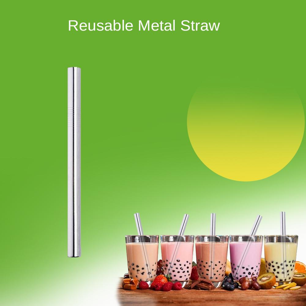Metal Straw Reusable 304 Stainless Steel Eco-Friendly Extra Wide For Milk Shake Bubble Tea 215*12mm By Pyrs Marketing.