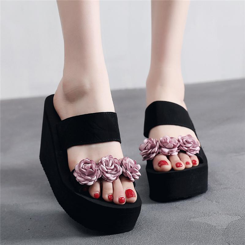 e97e3ea192f5 2019 New Style Anti-slip Slanted Heel Slipper women Thick Bottomed Extra  High Outer Wear