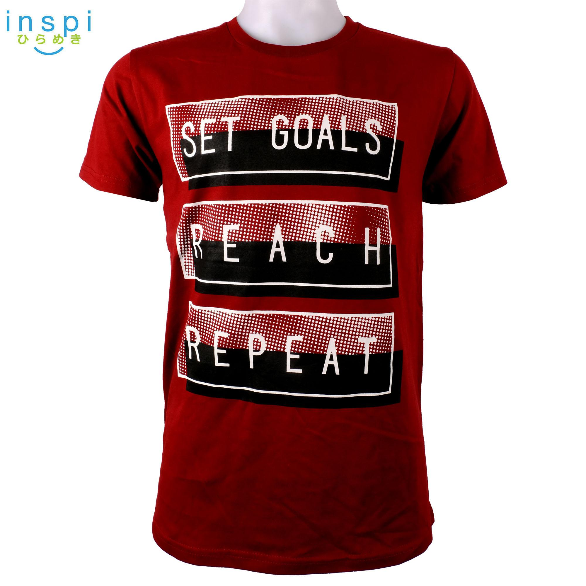 c3fc136d6a7c INSPI shirt Set goals reach repeat (Maroon) tshirt printed graphic tee Mens t  shirt