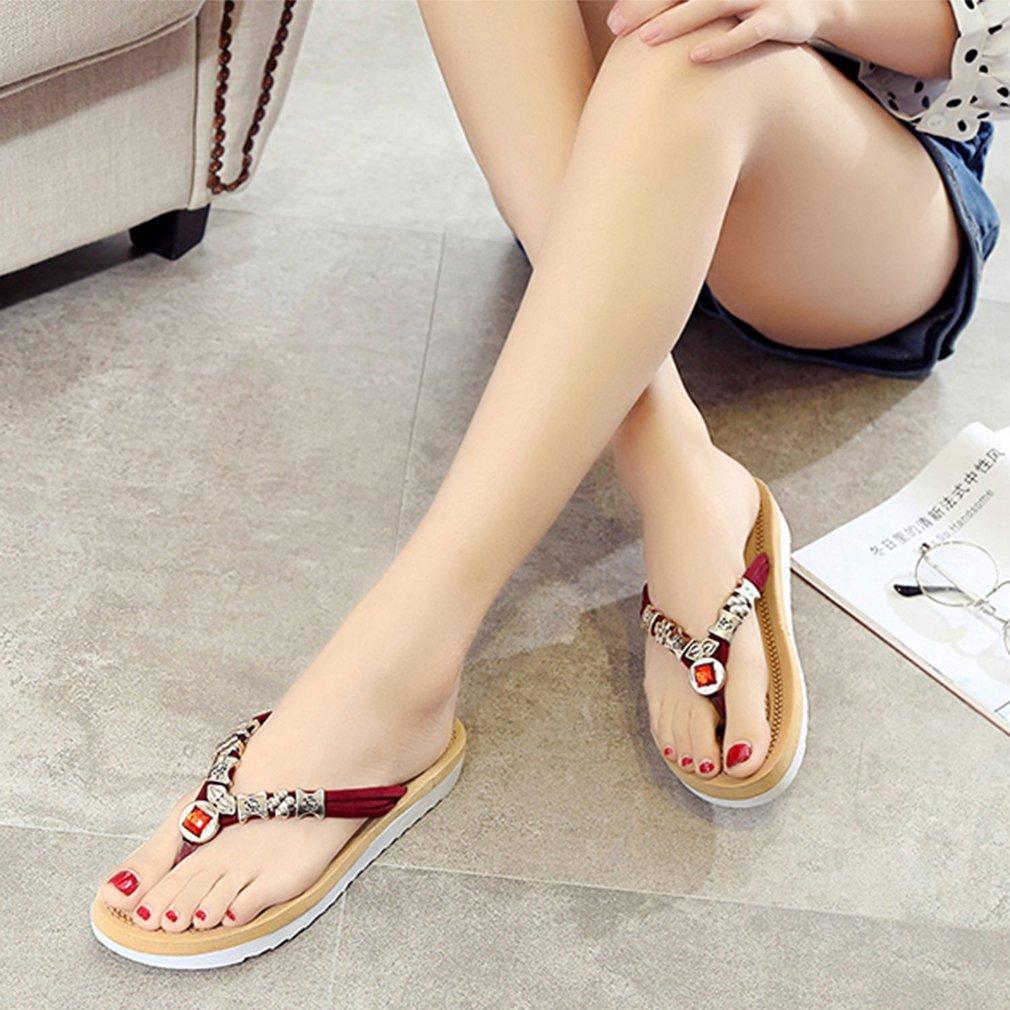 908169af0 Caihui Summer Women Sandals Beaded Rhinestone Beach Sandals Flat Heel Flip  Flops