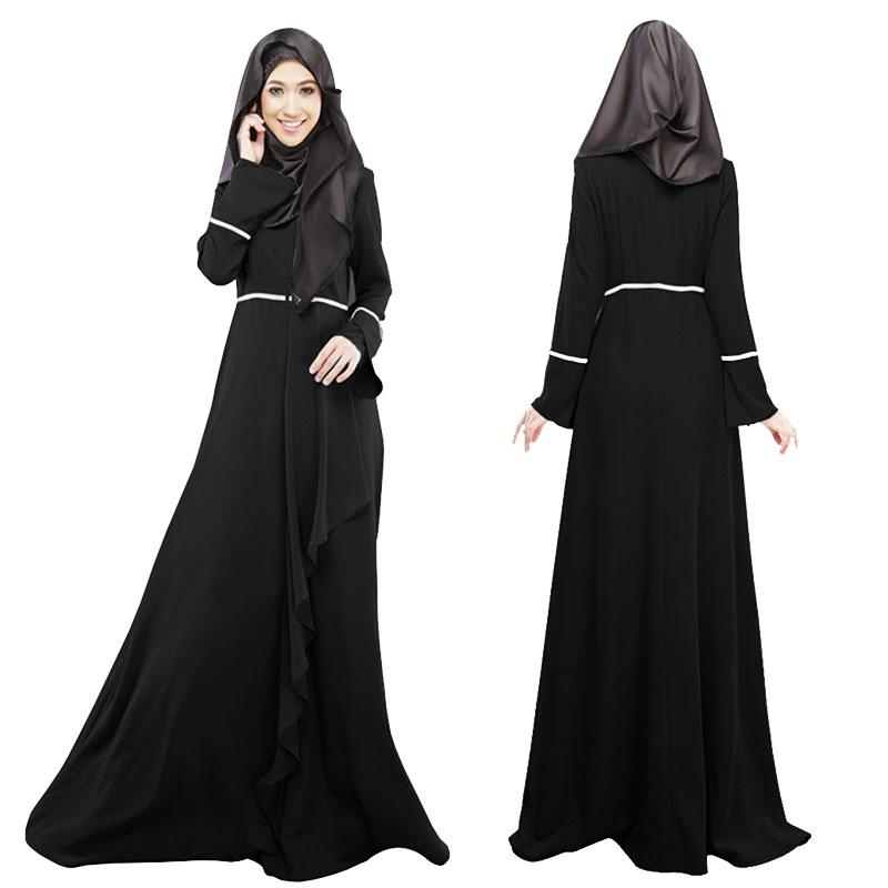 24e66f2145f4 New Women Muslim Dresses Long Sleeve Islamic Arab Maxi Dress For Kaftan  Abaya Jilbab Clothing 4
