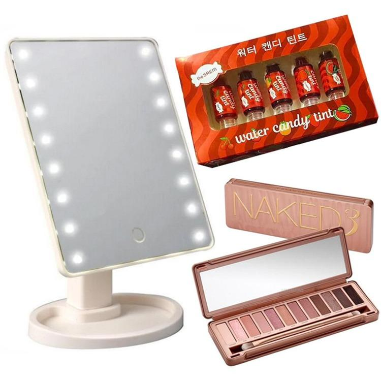 LOVE&HOME LED Vanity Makeup Mirror with Lights Table Lamp & Cosmetic Mirror  WITH Water Candy Lip Tint The Complete Box Set (Set of 5) WITH NK3 Eyeshadow Palette 12 Color Philippines