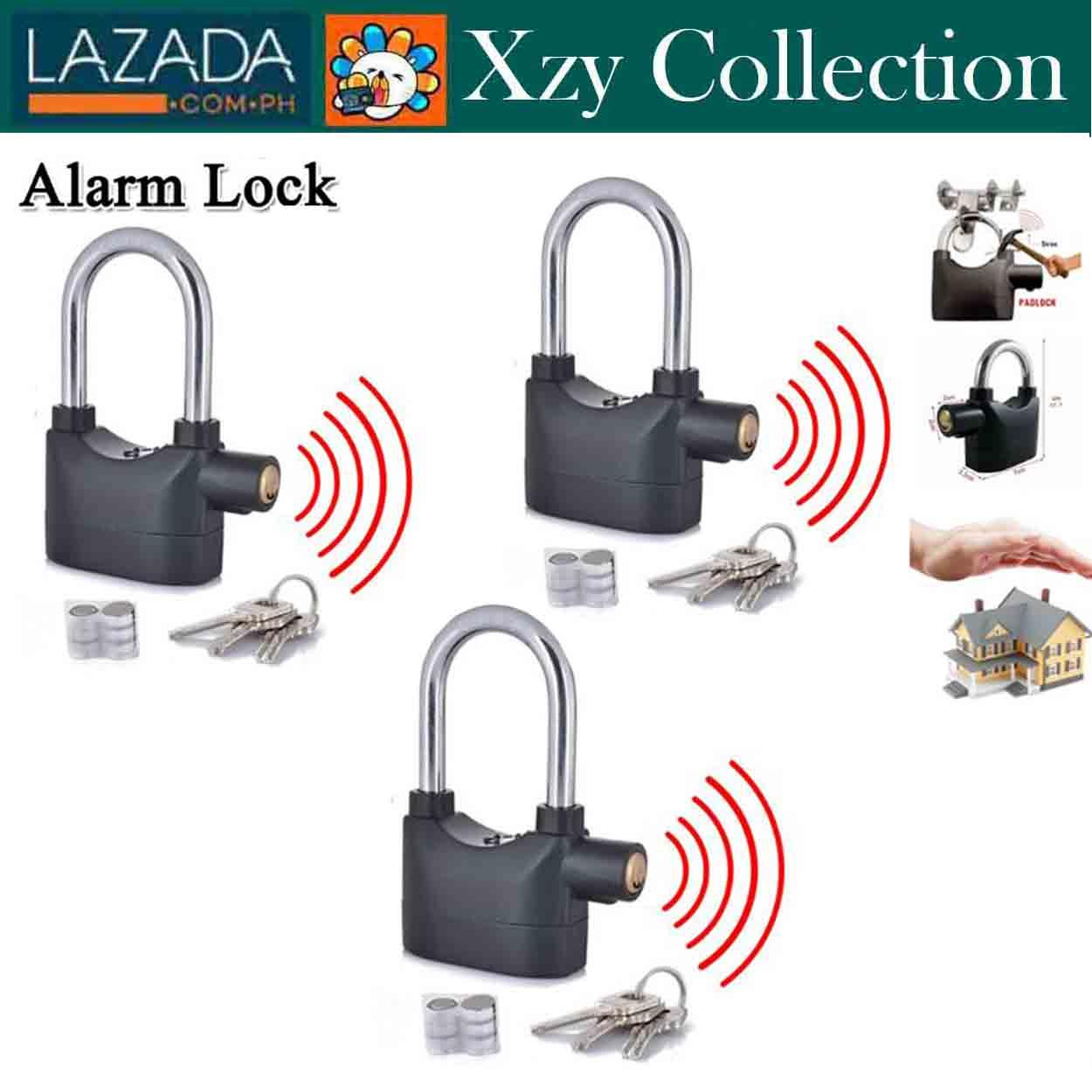 Set Of 3 New HST 110db Siren Alarm Lock Security Anti-Theft Padlock Door Motor