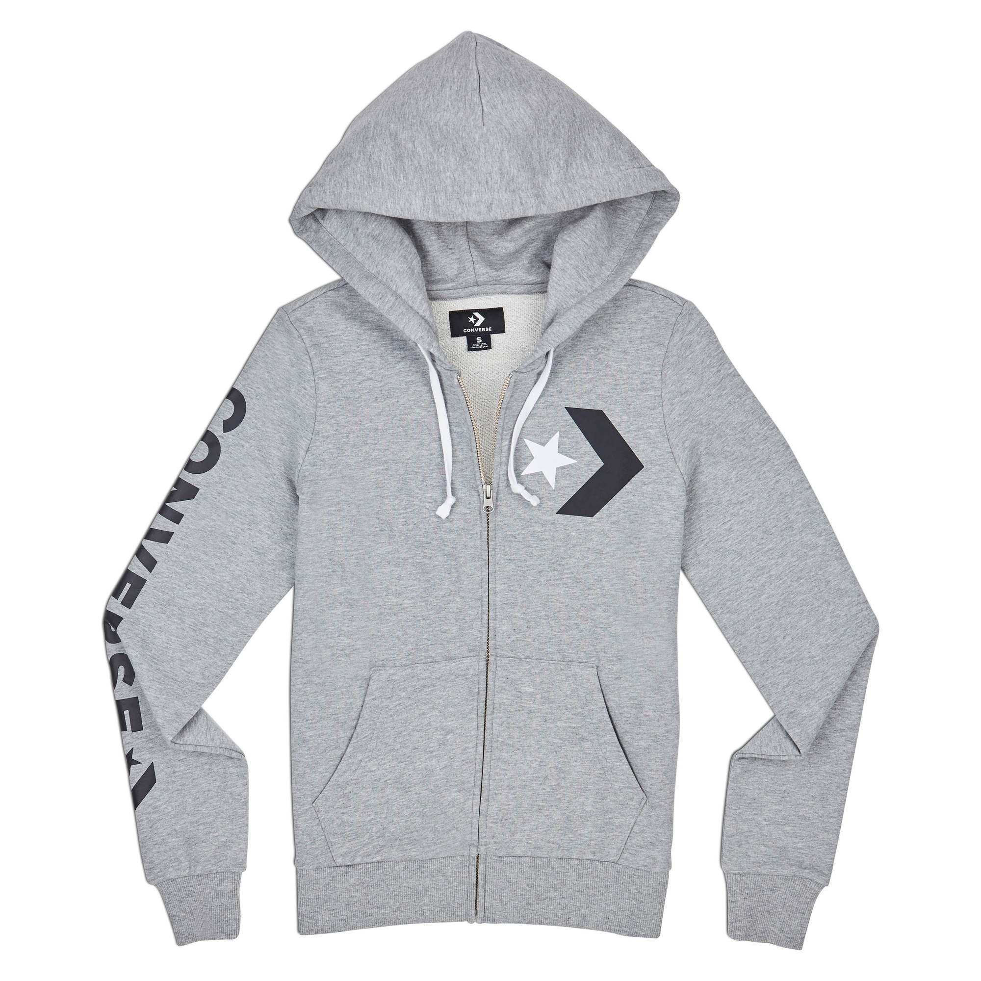 a836a198893941 CONVERSE STAR CHEVRON FULL-ZIP HOODIE - FT - VINTAGE GREY HEATHER - 622038  - 10007111-A02