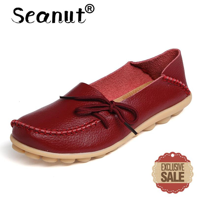 Seanut Fashion Leather Comfortable Slip-On Women Casual Shoes Loafers (Burgundy) - intl