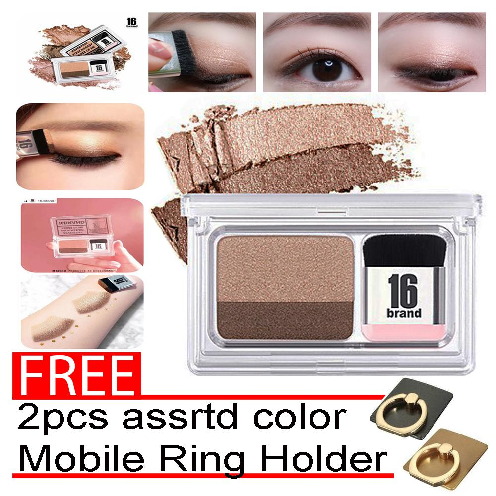 Eye Shadow Kit 16 BRAND Eye Magazine Eye Shadow Quick and Easy Eyeshadow Kit with Brush2.5g with free 2pcs assrtd color Mobile Ring Holder Philippines