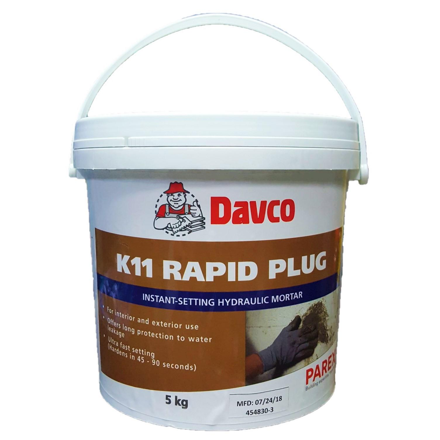 DAVCO K11 Rapid Plug Instant Setting Hydraulic Mortar for Waterproofing -  5kg