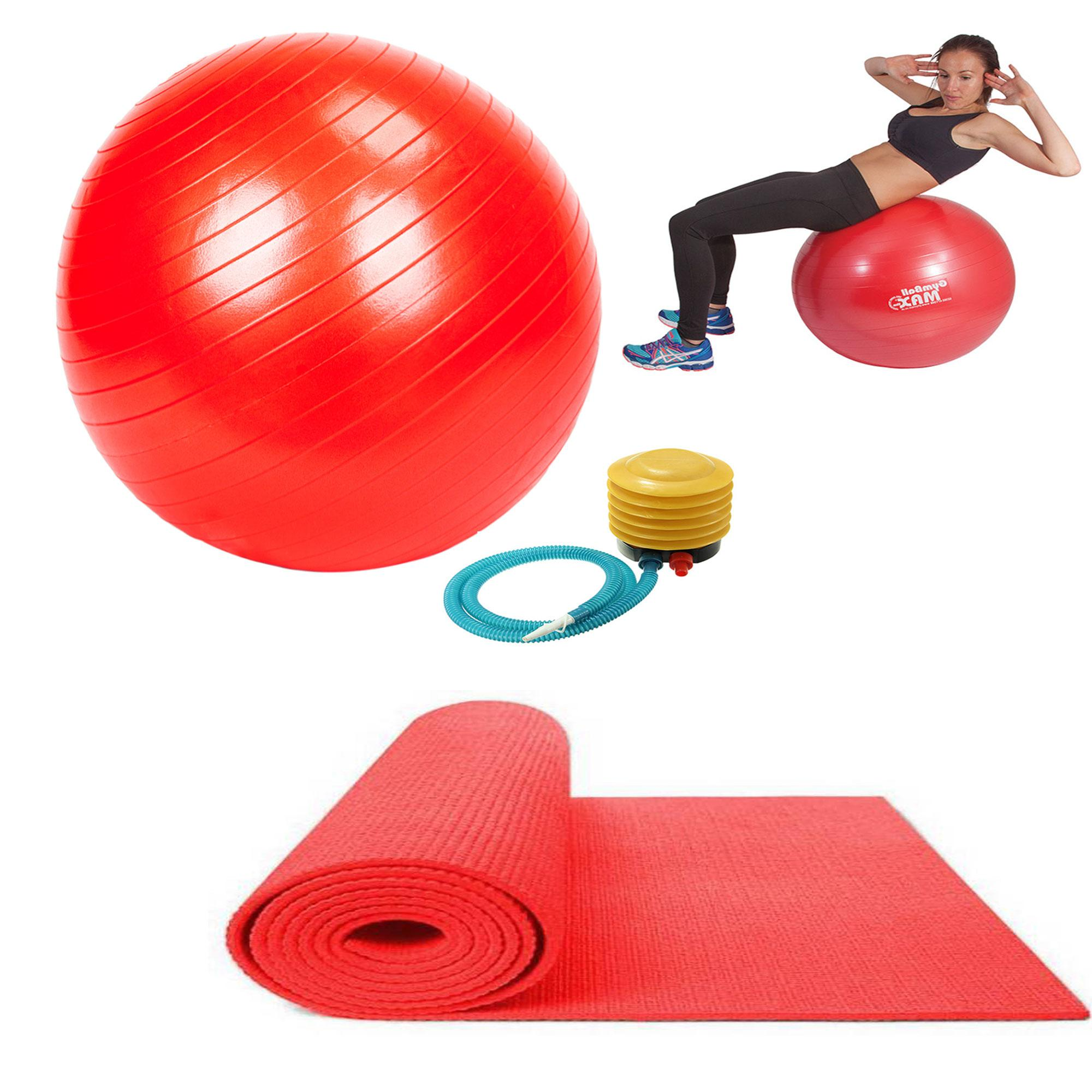 Gym Ball (Red) with Free Non Slip Yoga Exercise Mat 68