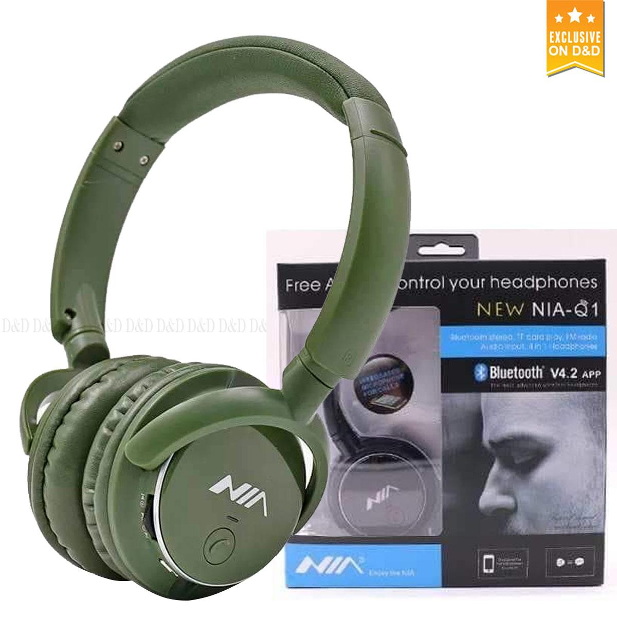 Nia Q1 Bluetooth Headsets with Micro SD and AUX Slot/FM Radio