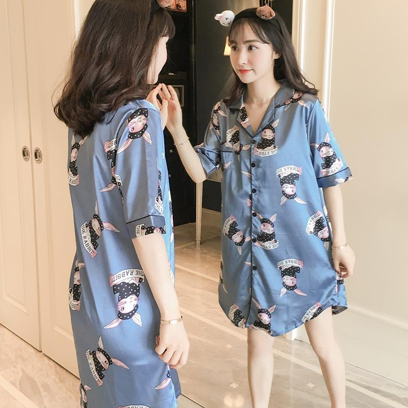 9d18fd6cf0 Nightgown women Summer Ice Silk Short Sleeve Sexy Loose And Plus-sized Fat  Mm200 Jin