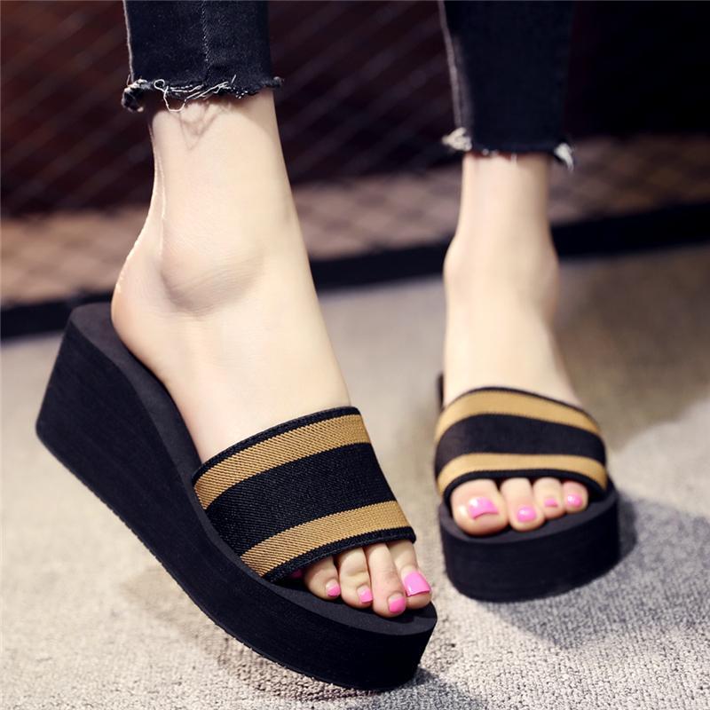 6913ac071892ee Slipper women Summer Korean Style Single-strap Slipper Thick Bottomed  Slanted Heel Anti-slip