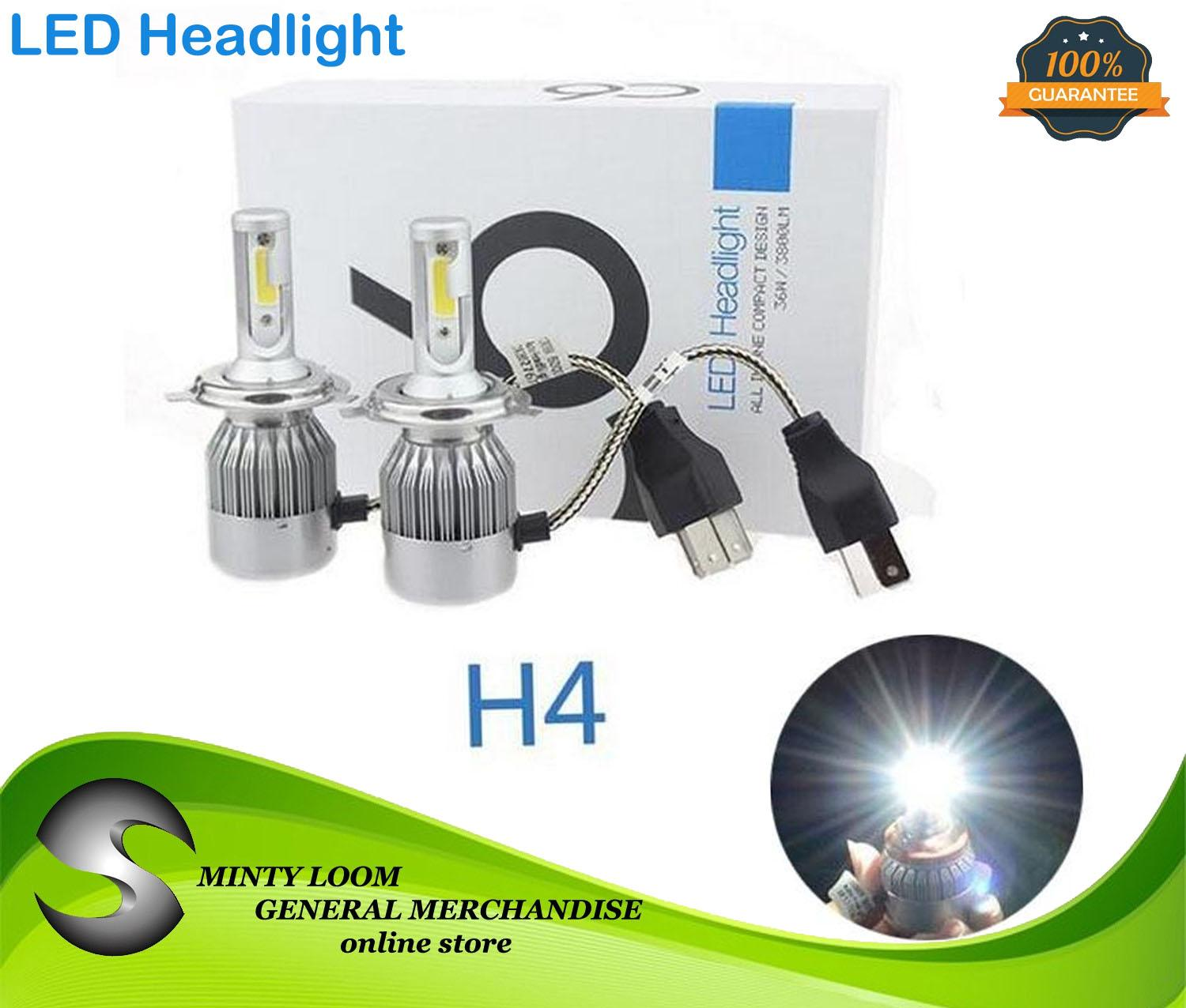 Motorcycle Head Lights For Sale Light Assemblies Online C6 Headlight Wiring Harness New 2pcs Led Car Kit Cob H4 36w 3800lm White Bulbs