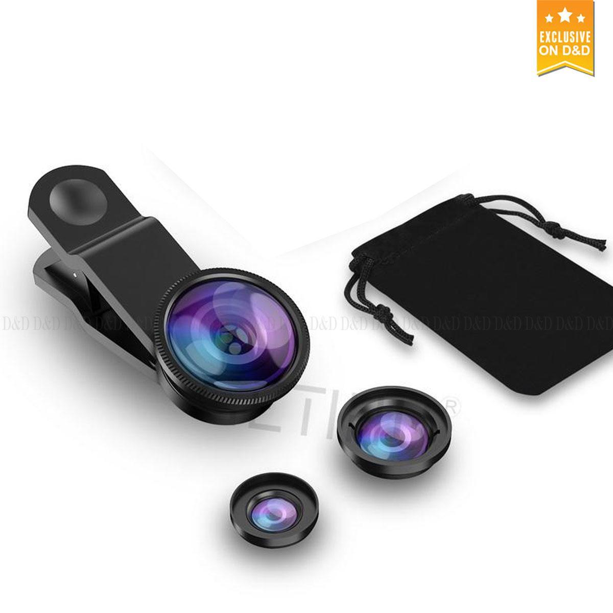 Universal Clip Mobile Phone Camera Lens Fisheye + Macro + Wide Angle for iPhone 6 7