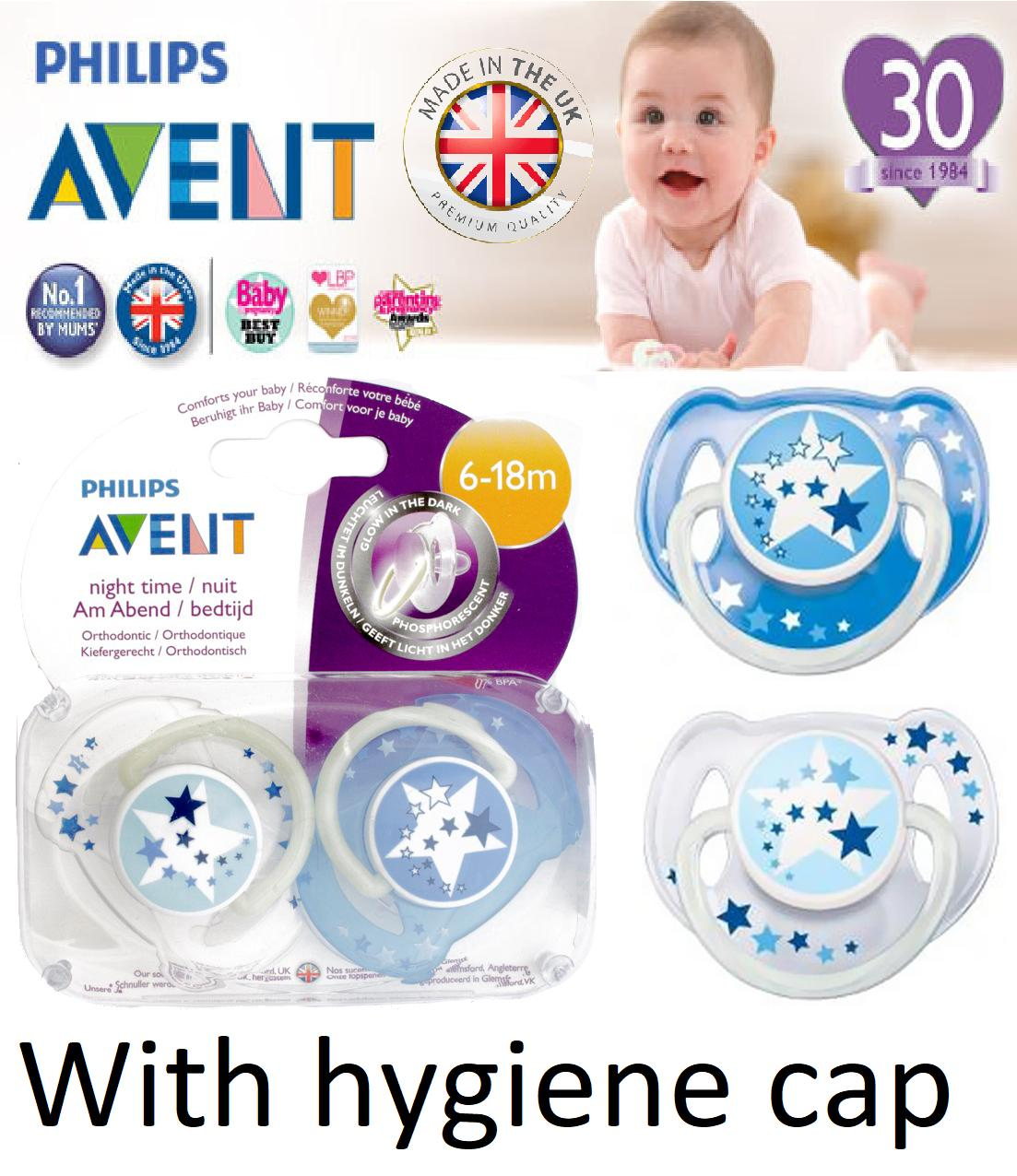2 Philips Avent Glow In The Dark Pacifier / Soother / Dummy Night Time Blue Stars Design - Made In Uk With Snap On Cap. 6-18m By Imaginarium.