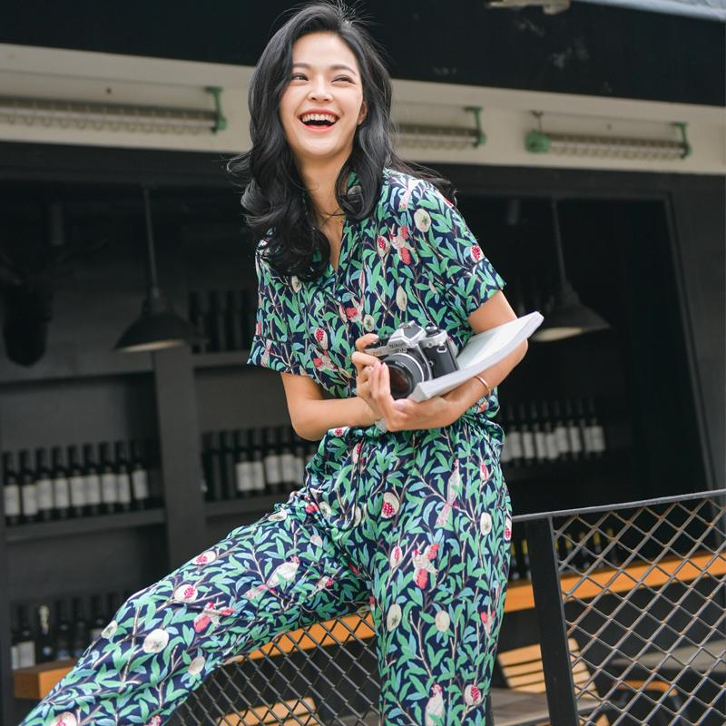 Summer Sexy Silk Pajamas women Korean Style Loose Pineapple Printed Home  Service women Short Sleeved Trousers fcadc135a