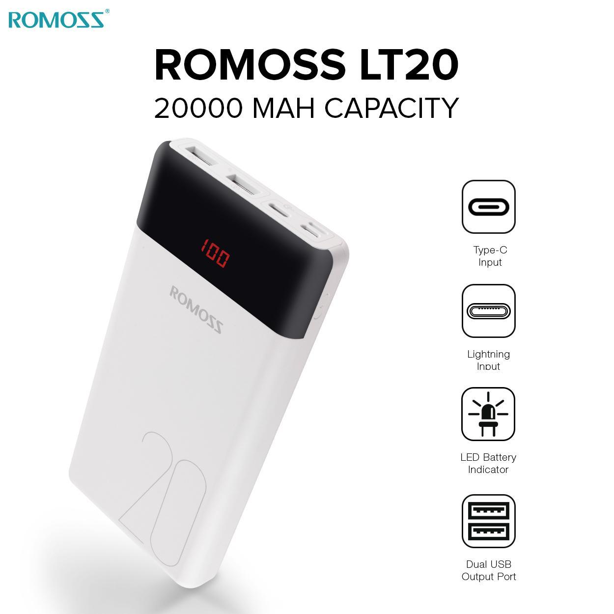 Romoss Philippines Price List Power Bank Battery Powerbank Wellcomm 10000mah Lt20 20000 Mah White