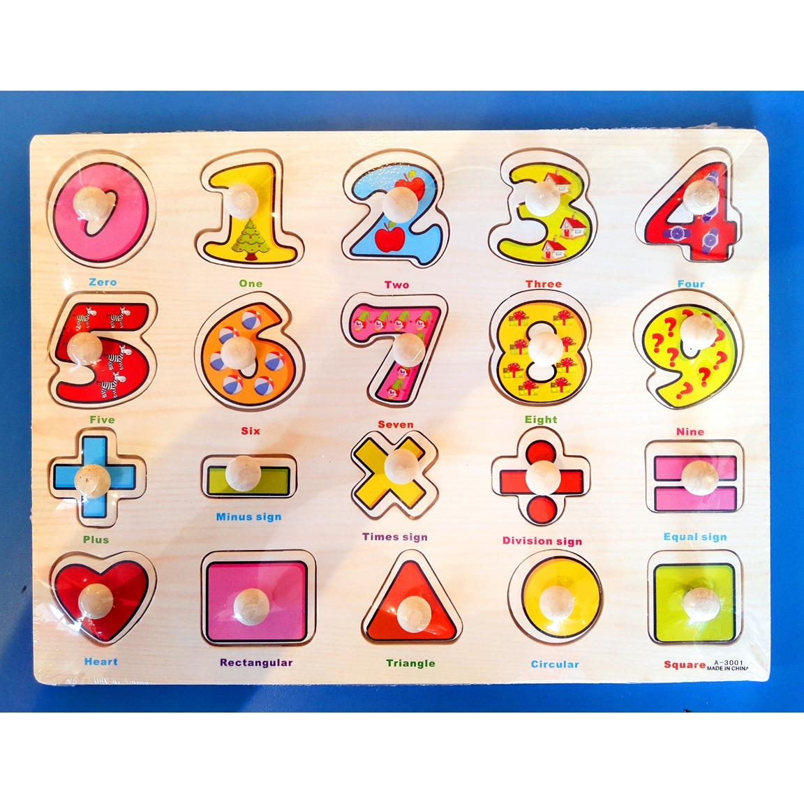 Wooden Inset Pegged Puzzle Board Numbers And Shapes Educational And Therapeutic Toy For Kids By Christine Gutierrez-Eliseo.