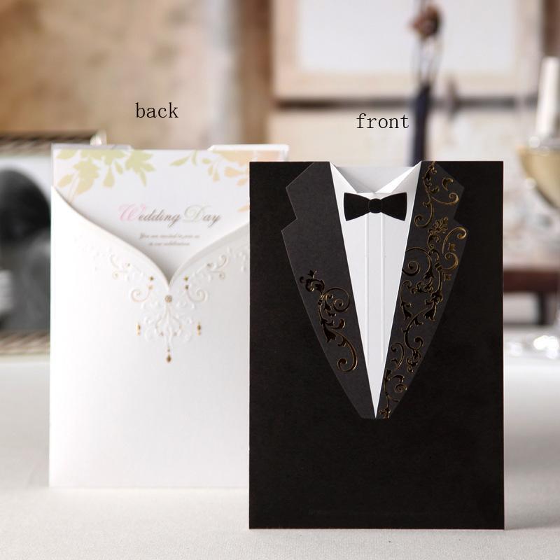 Philippines. 20 Sets (1809261V) Classy Tuxedo and Dress Laser Cut Wedding Invitation Card