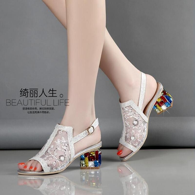 Belle Lattice 2019 Summer New Style Leather Semi-high Heeled Block Heel women  Sandals 3b46d08072d9