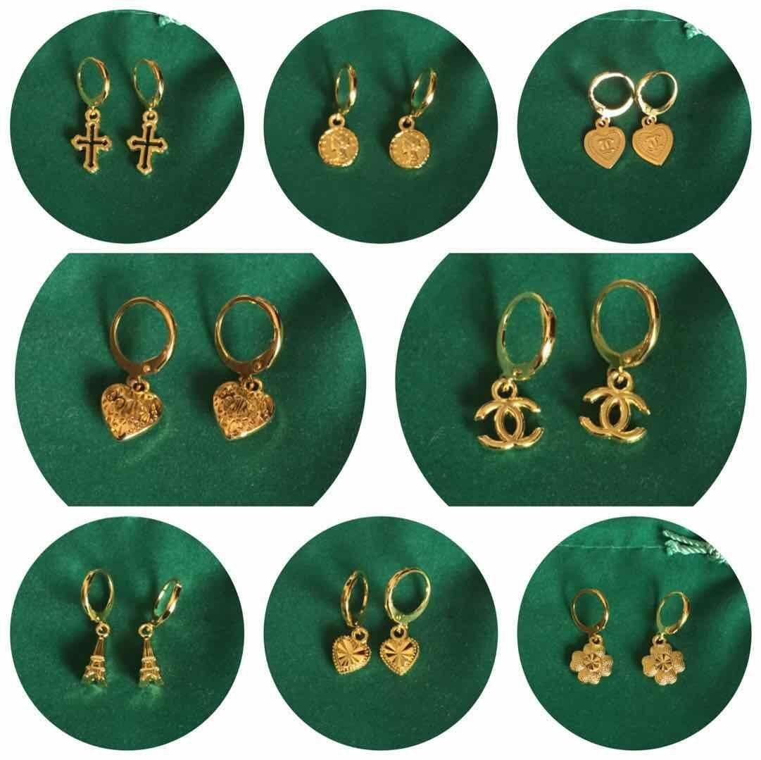4Pairs for p169 14k Bangkok gold plated earrings