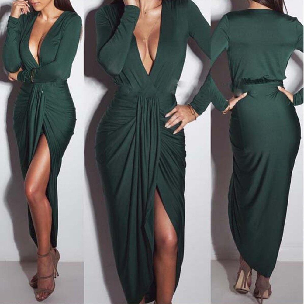 34616d31bc482 (Free Shipping Fee)Women Maxi Dress Solid Deep V Neck Split Ruched Long  Sleeve Slim Party Long Dress Wrap Dresses Khaki/Green/Black - intl