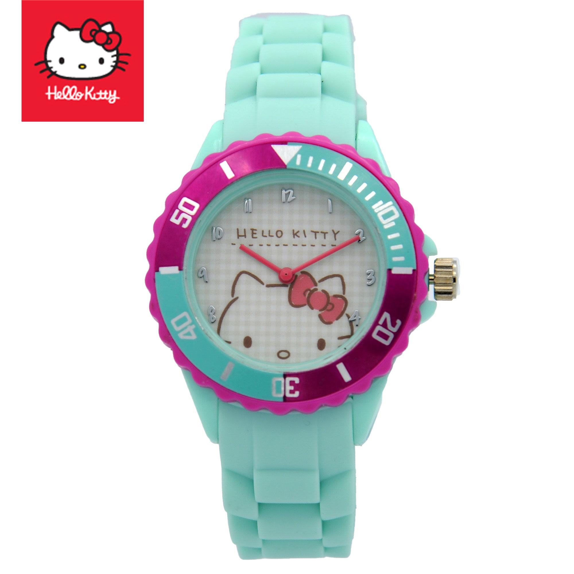 Hello Kitty Girls Turquoise Rubber Strap Analog Casual Watch HKSS18004 (HKSS Series)