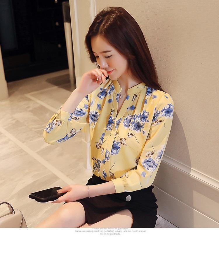 b73519de09b2e3 Product details of 2018 Womens Tops And Blouses Autumn Fashion V-Neck  Chiffon Blouses Slim Women Chiffon Blouse Office Work Wear Shirts Women Tops