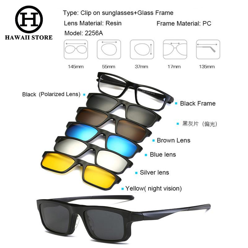 c6ba898a0f HAWAII 5+1 Suit Fashion Clip On Sunglasses Women Frames Clips Magnetic  Sunglasses Magnet Eyeglasses Men Clip Glasses 6 in 1