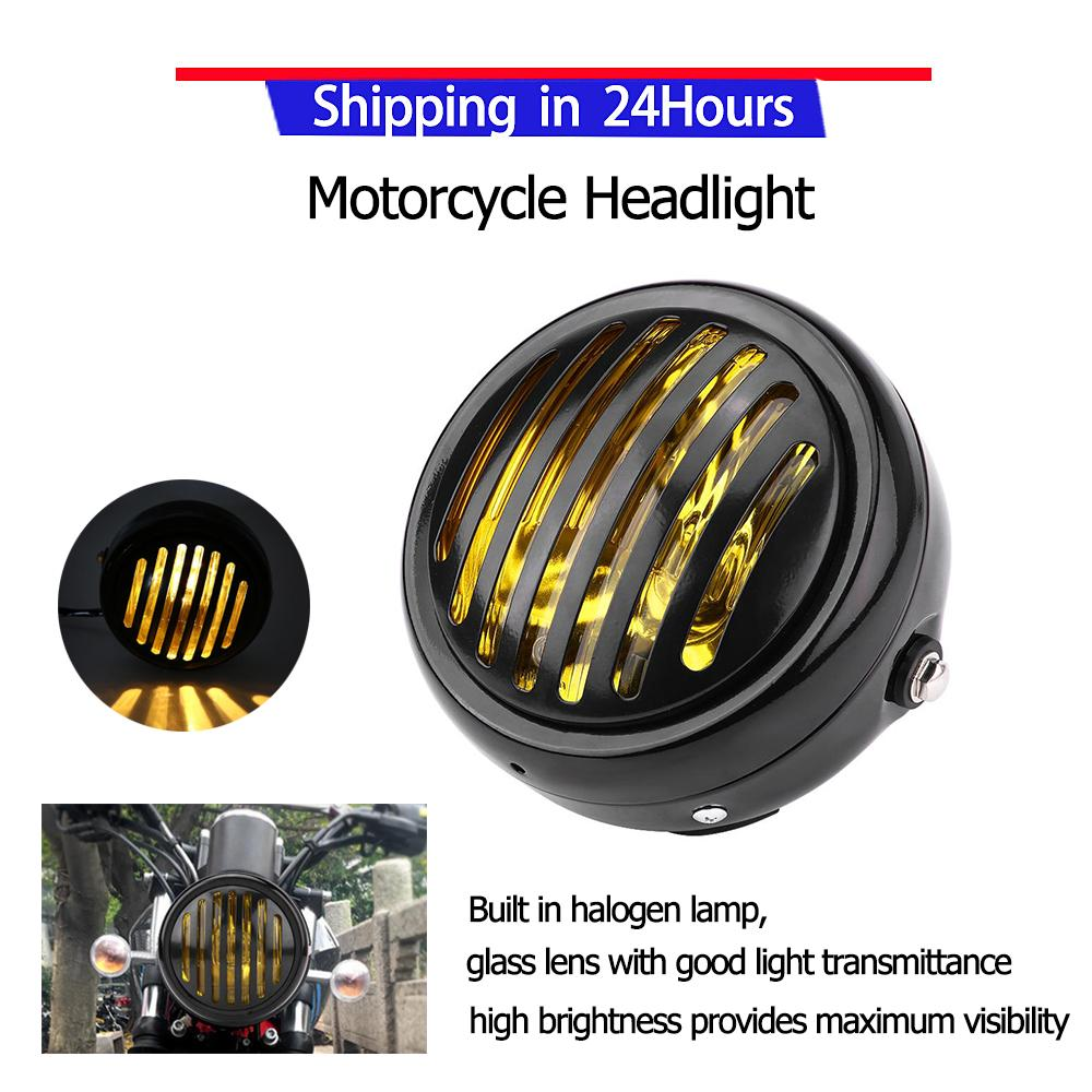 Motorcycle Head Lights For Sale Light Assemblies Online Honda Shadow 750 Cafe Racer Kit Promotionmotorcycle Headlight 63 Inch Vintage Black Grill Yellow Lens Universal