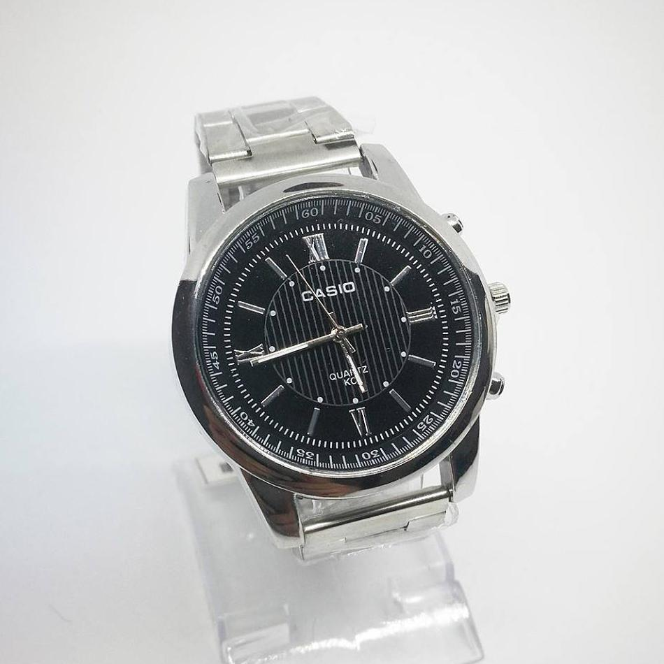 Casio Roman Numeral Analog Black Dial Stainless Steel Men's Watch