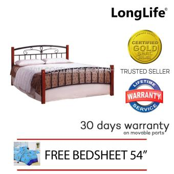 Longlife Doreen Semi Queen Size Bed Frame Only 54 X 75 (Brown) with Free FITTED BED SHEET & 2 PCS PILLOW CASE