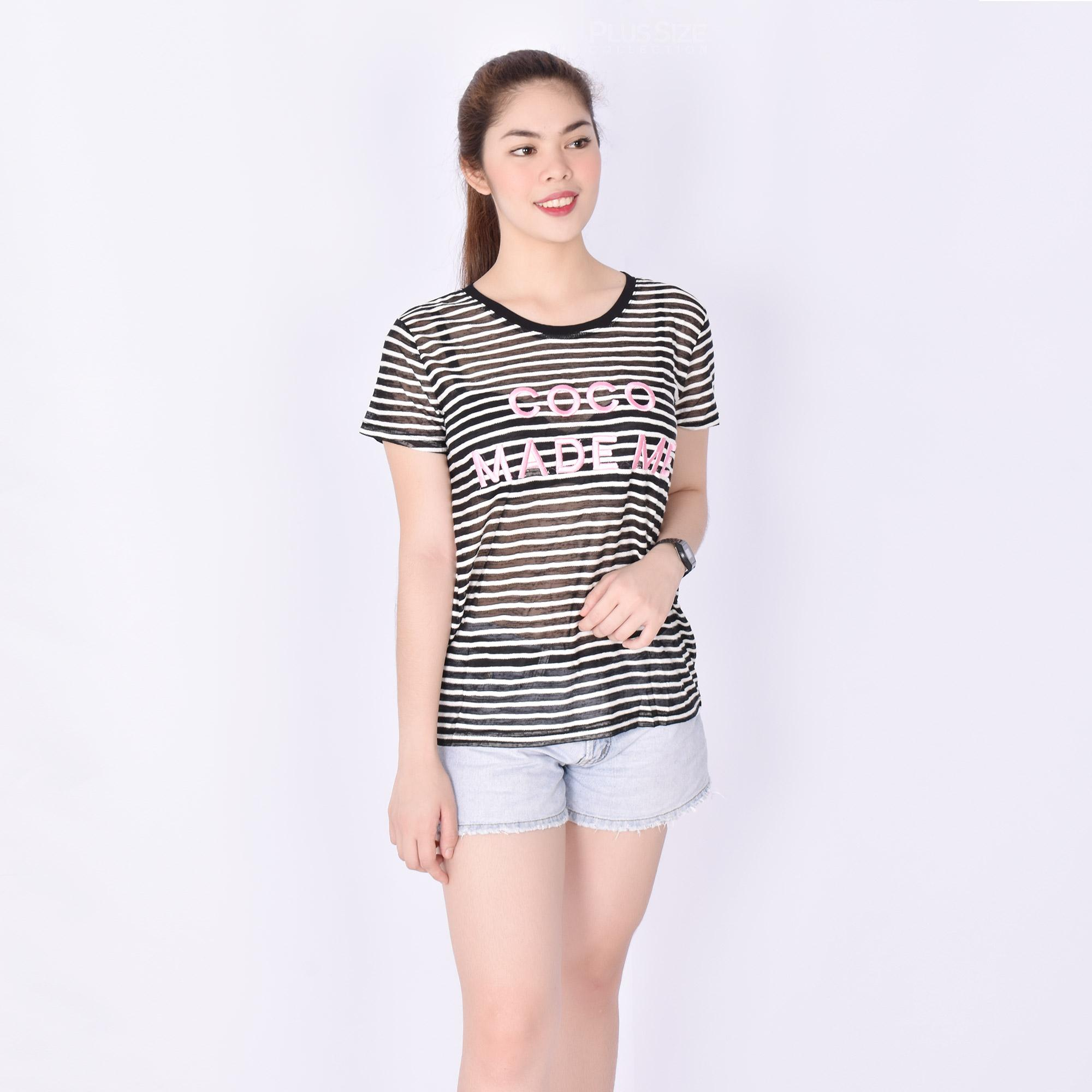 82963febecd COCO MADE ME Embroidered Pattern Tops Semi See Through Short Sleeve Top Tee  New Trendy Fashionable