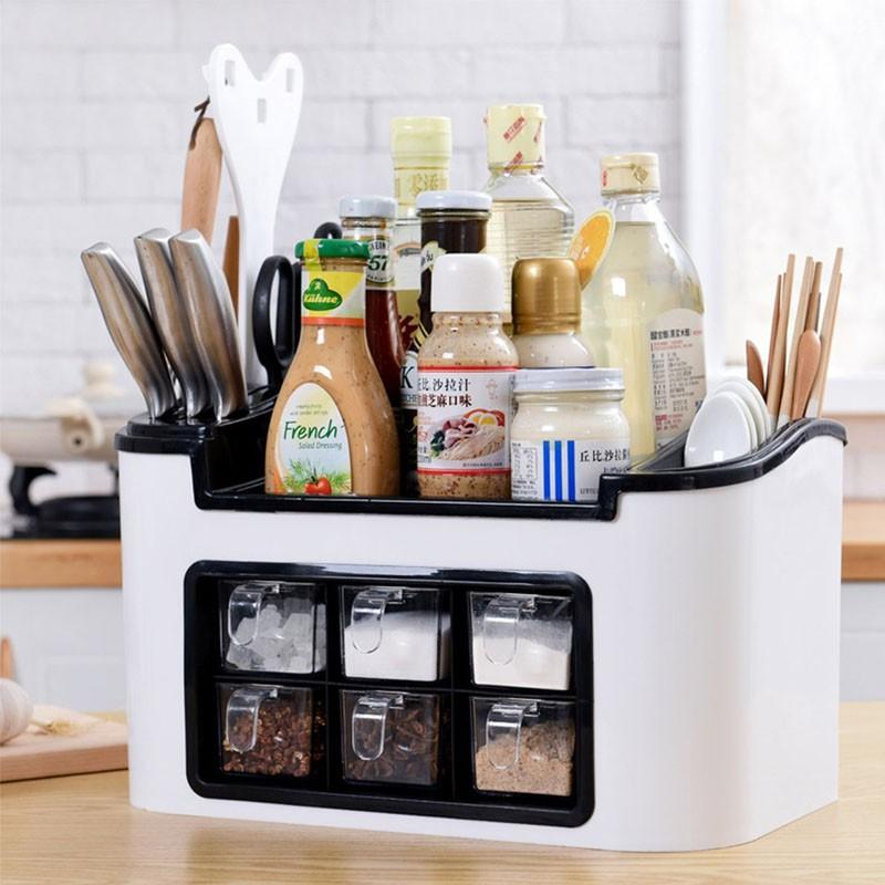 MULTI-FUNCTIONAL KITCHEN CONDIMENTS RACK STORAGE BOX