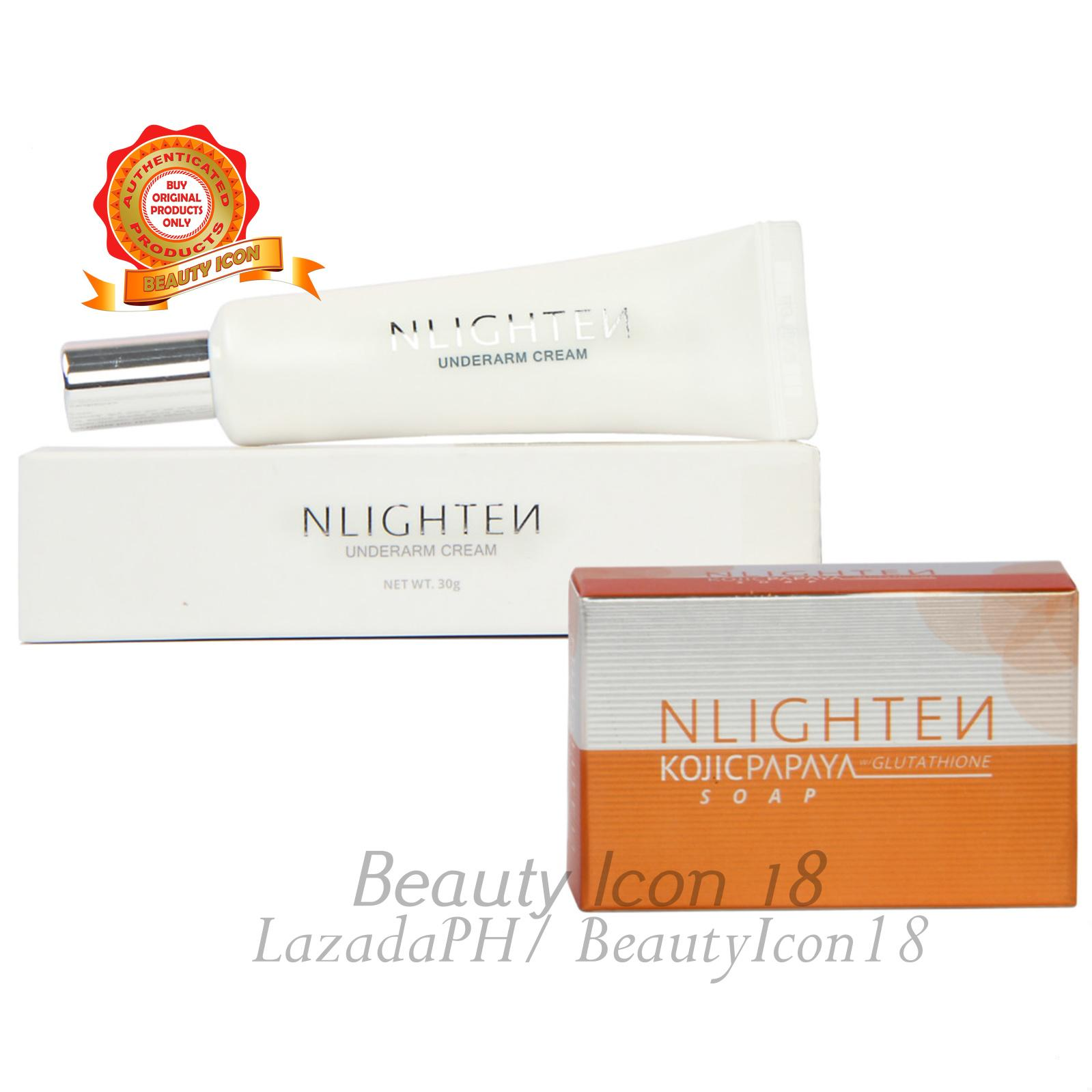 NLighten Underarm Instant Brightening Set of Kojic Papaya Soap and Underarm Cream