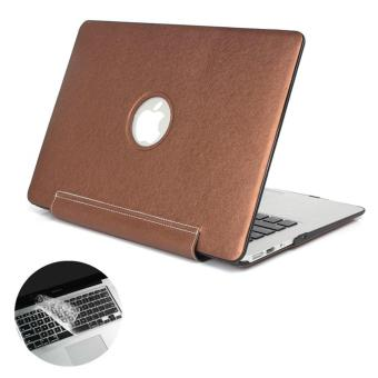 Macbook Air 13 Case Logo Visible PU Leather Coated Plastic Hard Shell Case Cover for MacBook Air 13 Inch A1369/ A1466 with Keyboard Skin
