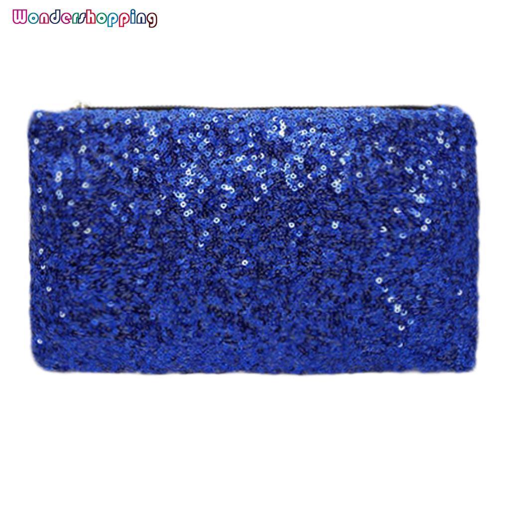 WONDERSHOP Glittering Sequins Dazzling Clutch Evening Party Bag Handbag Wallet Purse ( Dark Blue ) -