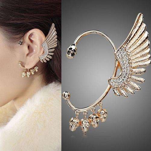 BODHI Women Punk Gothic Rhinestone Wing Skulls Ear Cuff Clip Hook Earring for Left Ear