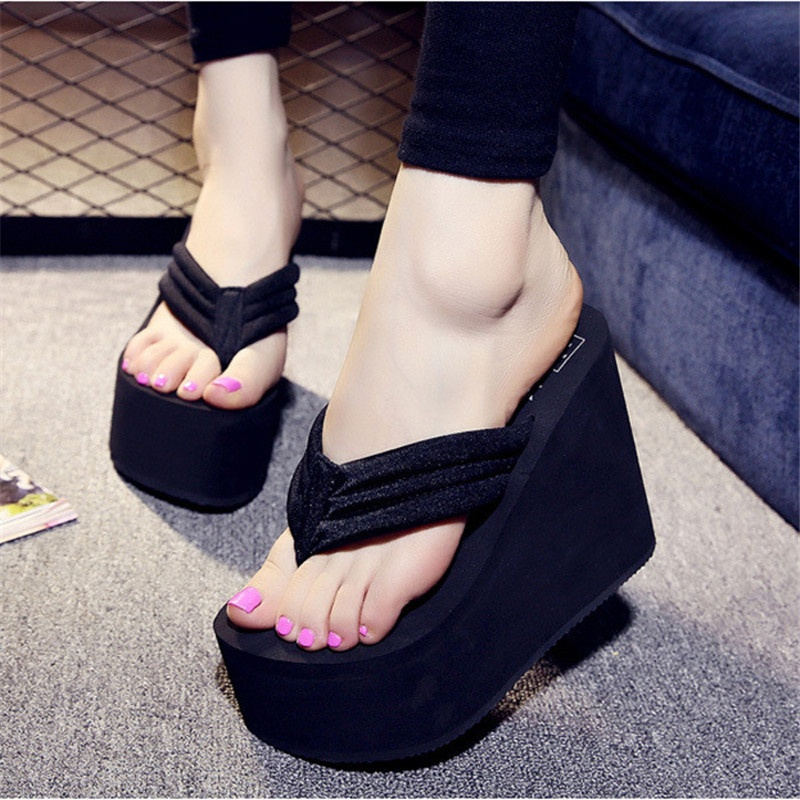 9bde92e72 Product details of Women s Sexy High Heels Flip Flops Slippers Wedge  Platform Antiskid Beach Shoes -Intl