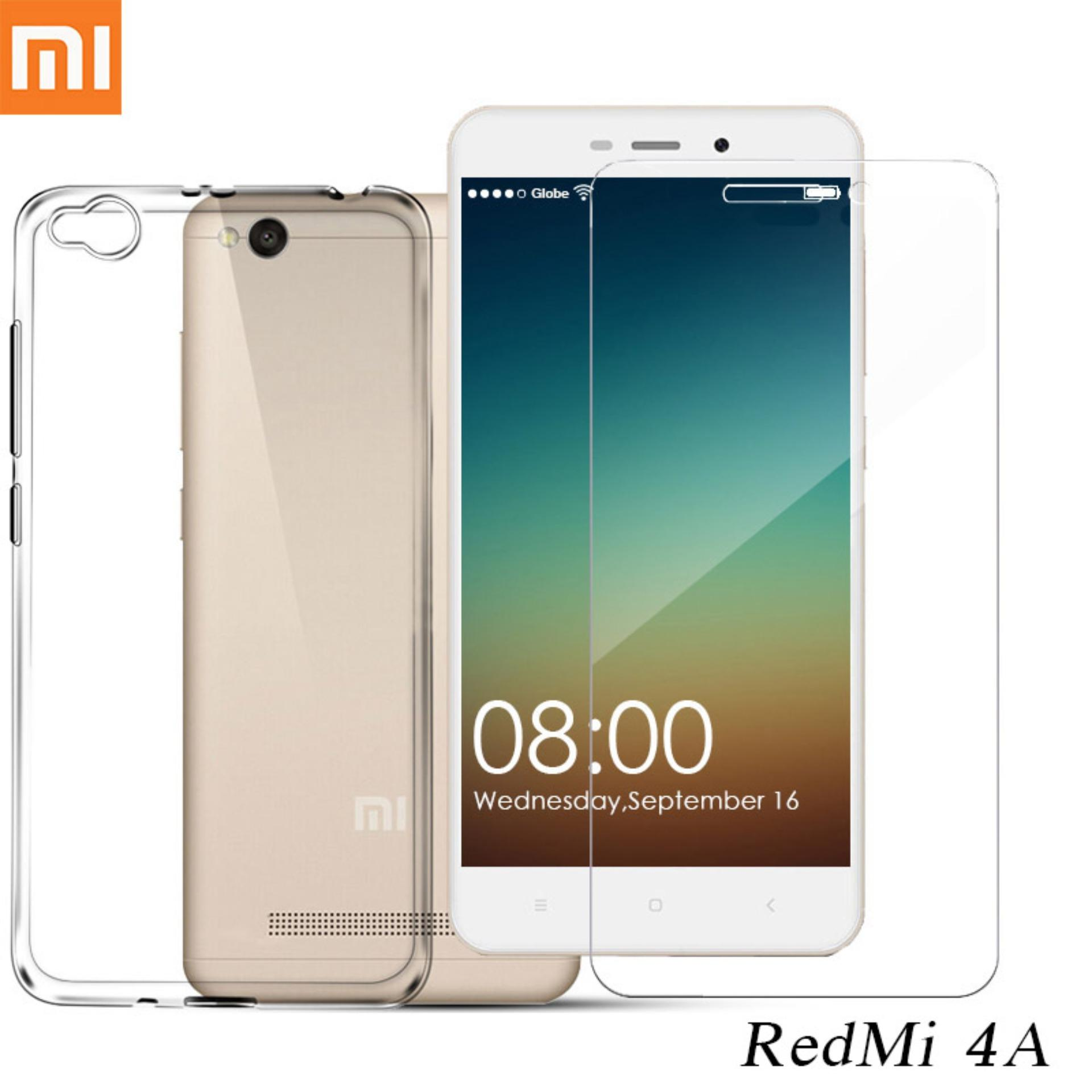 Tylex Tempered Glass 2 Pcs & Jelly Case For Xiaomi Redmi 4A (Clear)